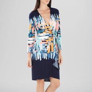BCBGMAXAZRIA Adele Printed Wrap Midi Dress